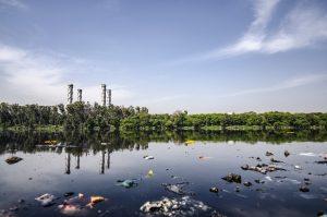 Contaminated lake next to a factory