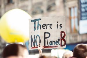 """A sign at a march says """"There is NO Planet B"""""""